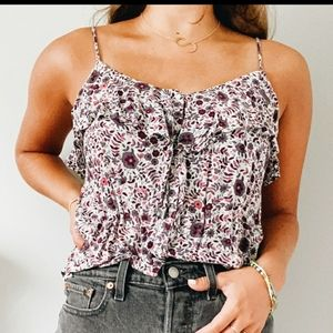 American Eagle Floral Button Down Tank Top